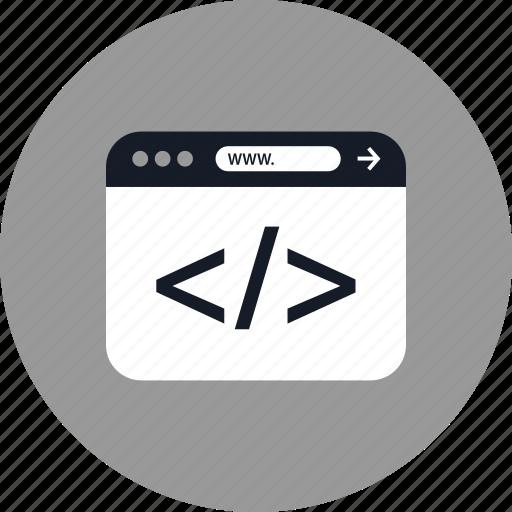 brackets, browser, coding, development, online, web, www icon