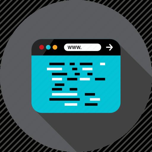 browser, code, development, language, lines, web icon