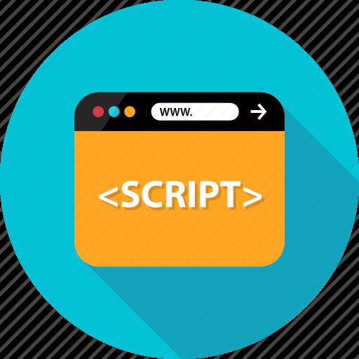 browser, development, language, program, script, web, write icon
