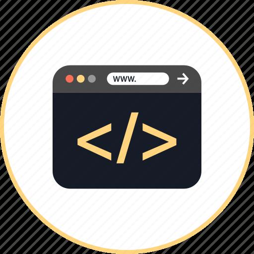 bracket, browser, coding, development, online, web, www icon