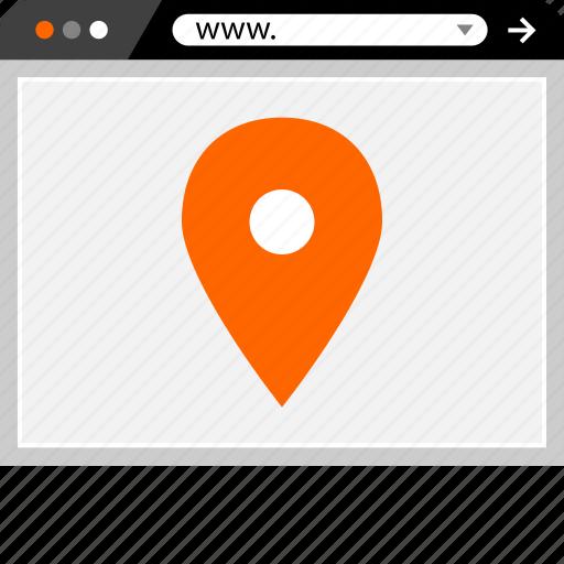 gps, internet, locate, online, pin, web icon