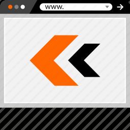 back, internet, left, online, web, website icon