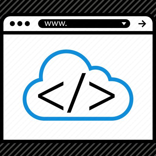 brackets, cloud, online, server icon