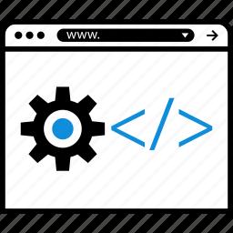code, gear, hack, option icon