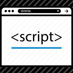 brackets, browser, script, web icon