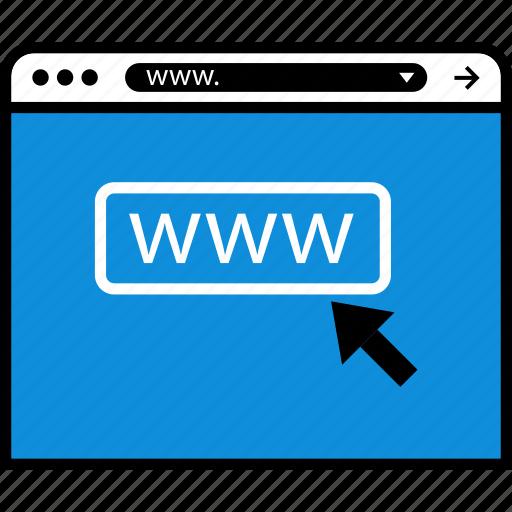 arrow, click, online, www icon