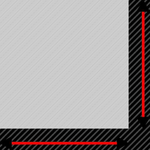 arrows, block, measure, ruler icon