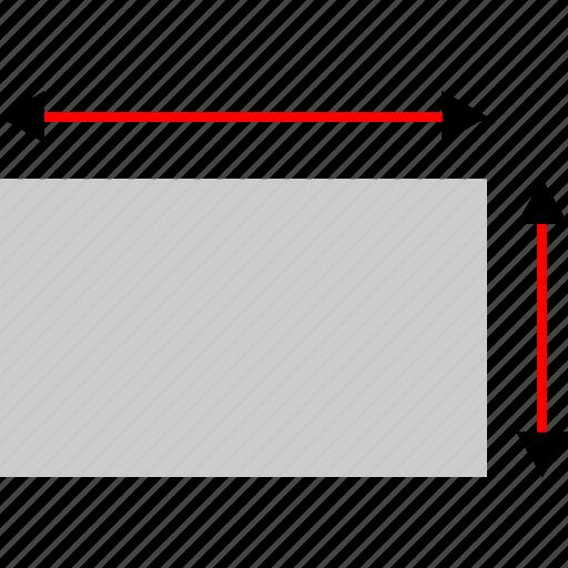 cad, create, measure, rectangle icon