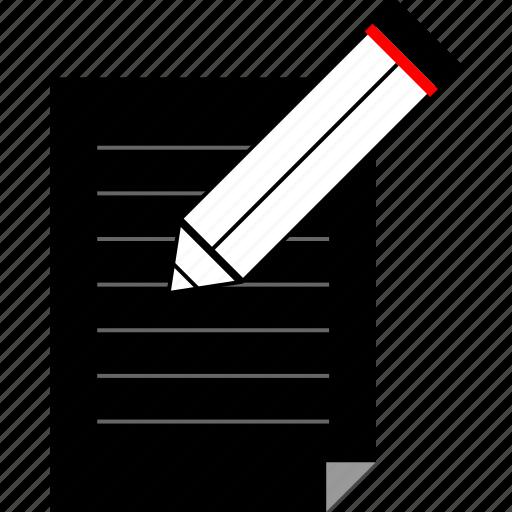 edit, page, paper, pencil icon