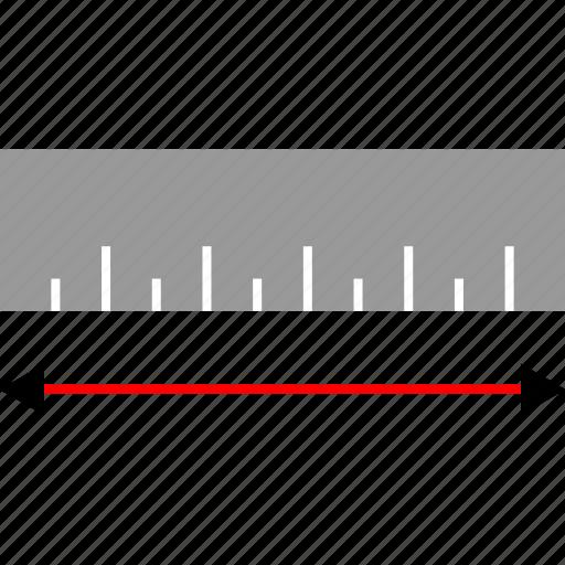 arrows, measure, ruler, wide icon