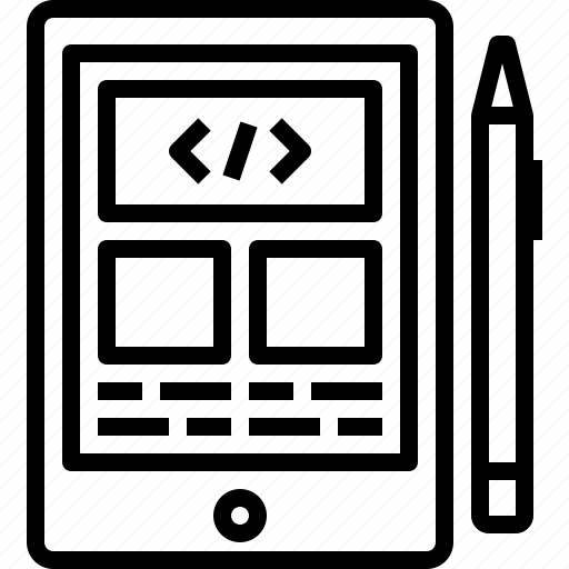 code, coding, design, screen, tablet icon