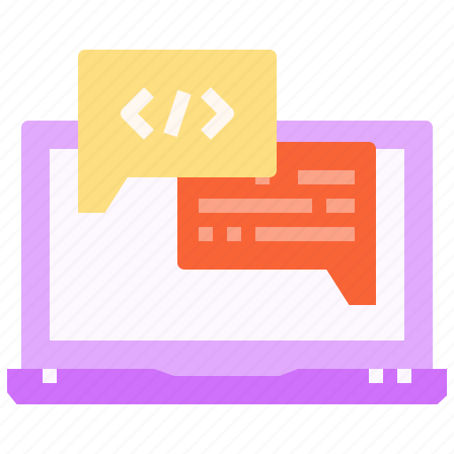 chat, code, codeing, html, laptop, web, website icon
