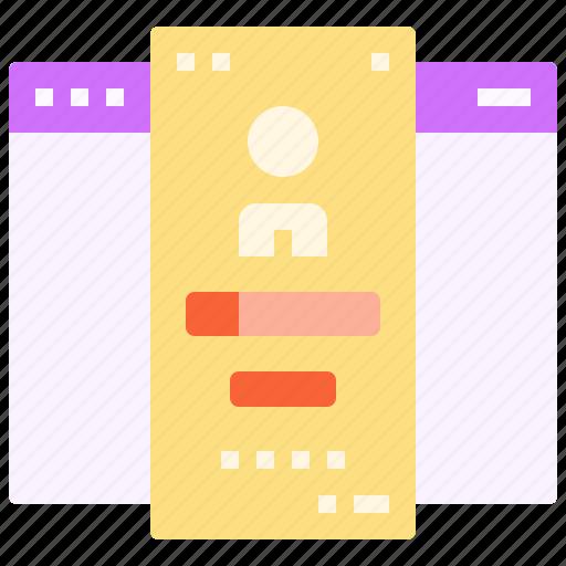 browser, design, login, page, ui, user, web icon