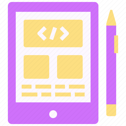 code, coding, design, page, screen, tablet, web icon