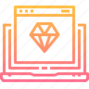 design, diamond, laptop, page, tool, web icon