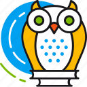 experience, intelligent, owl, smart, solution, wise icon