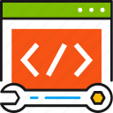 coding, development, programming, tag, ux, website, wrench icon