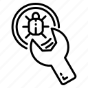 bug, fix, fixing, maintaince, wrench icon