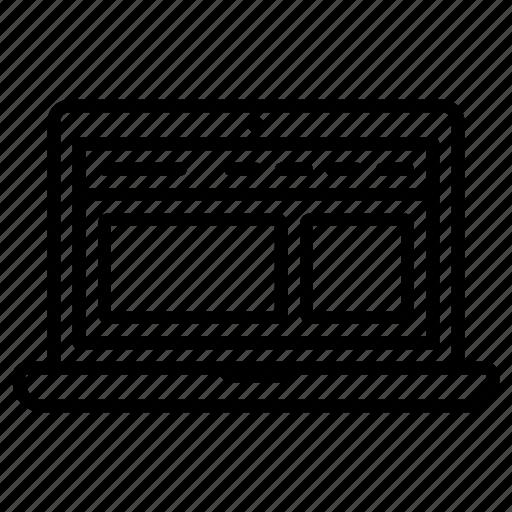 design, laptop, ui, web, wireframe icon