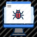 browser, bug, coding, development, iwarning, programing, setting icon