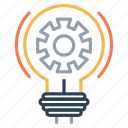 bulb, gear, idea, imagination, innovation, light, setting icon