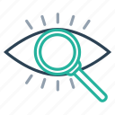 eye, find, magnifier, mission, search, view, vision icon