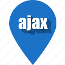 ajax, coding, development, pin, programming, web icon