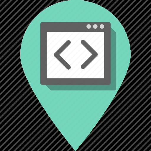 arrow, arrows, coding, development, direction, pin, website icon