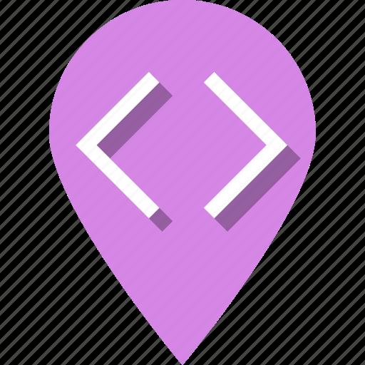 arrows, braces, coding, development, pin, site, web icon