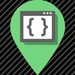 brackets, coding, development, pin, programming, seo, website icon