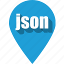 coding, development, json, pin, programming, web icon