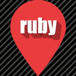 coding, development, pin, programming, ruby, web icon