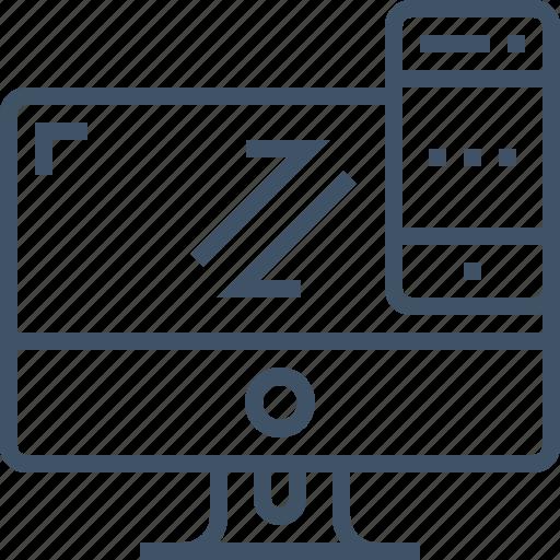 computer, cross, desktop, mobile, platform, responsive, website icon