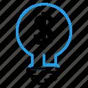 bulb, dolar, idea, lamp, money icon