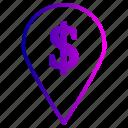 dolar, locate, marker, pointer, seo icon