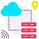 cloud server, data exchange, data server, data sync, database, web icon