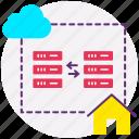 cloud data transfer, cloud server, data exchange, data server, database, web icon