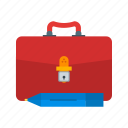 briefcase, business, document, office, paper, pen, professional icon