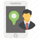 mobile location, navigation app, online location, personal location, user location icon