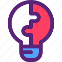 bulb, idea, innovation, puzzle, solution icon