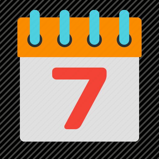 calendar, date, page, seven icon