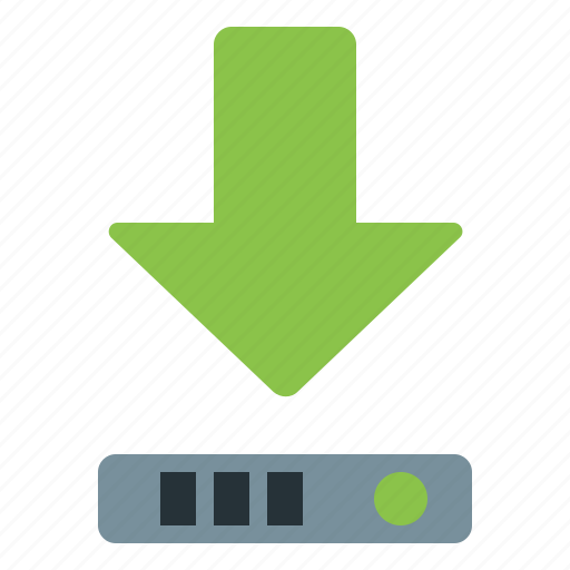 arrow, data, disk, download icon