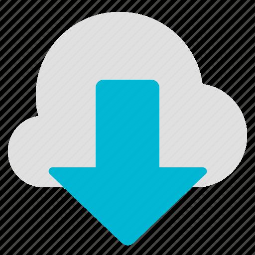 arrow, cloud, data, download icon