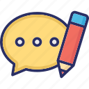 comment, edit, feedback, message, web icon