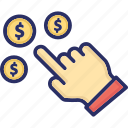click, earning, pay, pay per click, per icon
