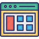 browser, layout, tables, template, web icon