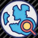 global, globe, magnifier, search, web icon