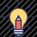 bulb, creative, design, idea, pencil icon