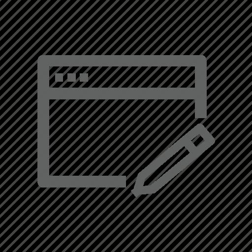 edit, page, pen, pencil, web, web page icon