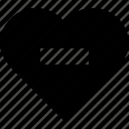 favorite, heart, love, minus, remove, valentine's day icon